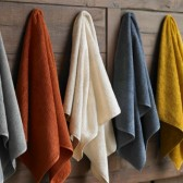 Hand towels in Graphite, Terra Cotta, Ivory, French Blue, & Ochre