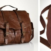 Ralph Lauren Polo Brown Leather Messenger Bag Front Closeup and Inside View